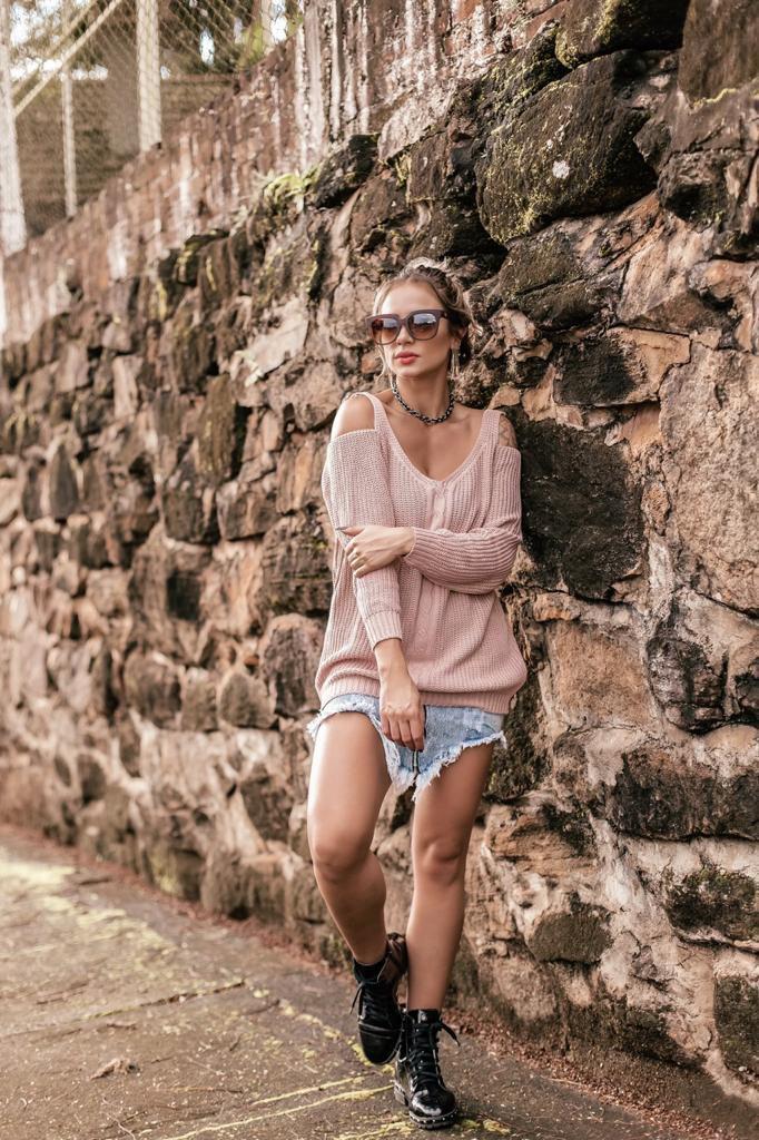 blusa lançamentos malha tricot de frio ombro aberto