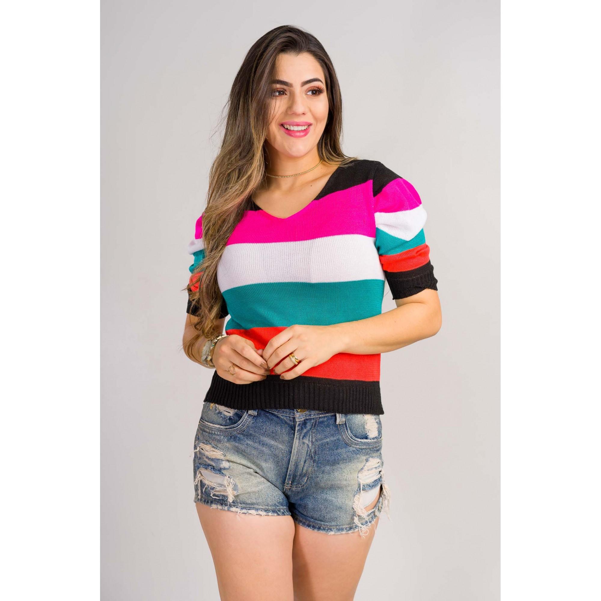 blusa listrada tricot de verão manga princesa
