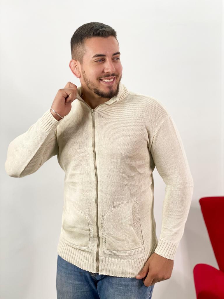 blusa masculina jaqueta de tricot com bolso promoção