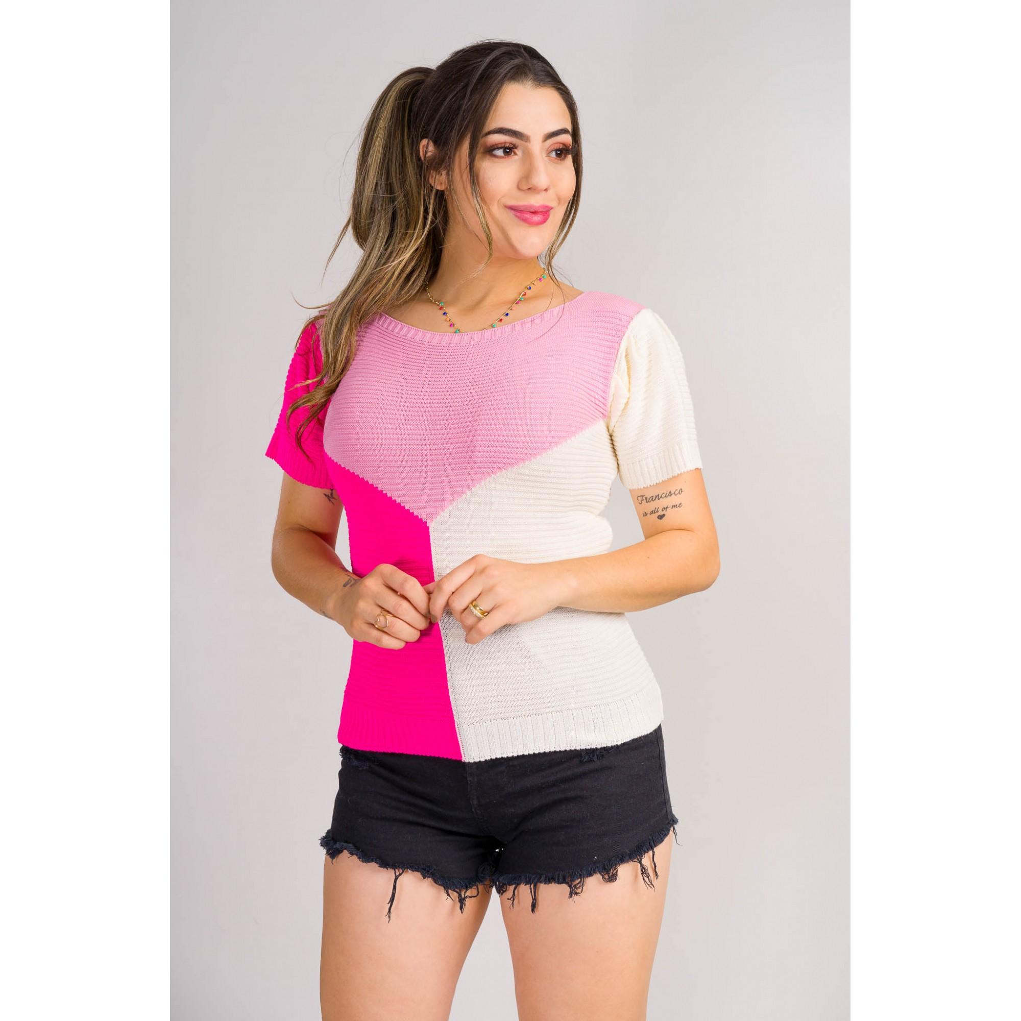 blusa tricot 3 cores  lançamento verão loja do tricô