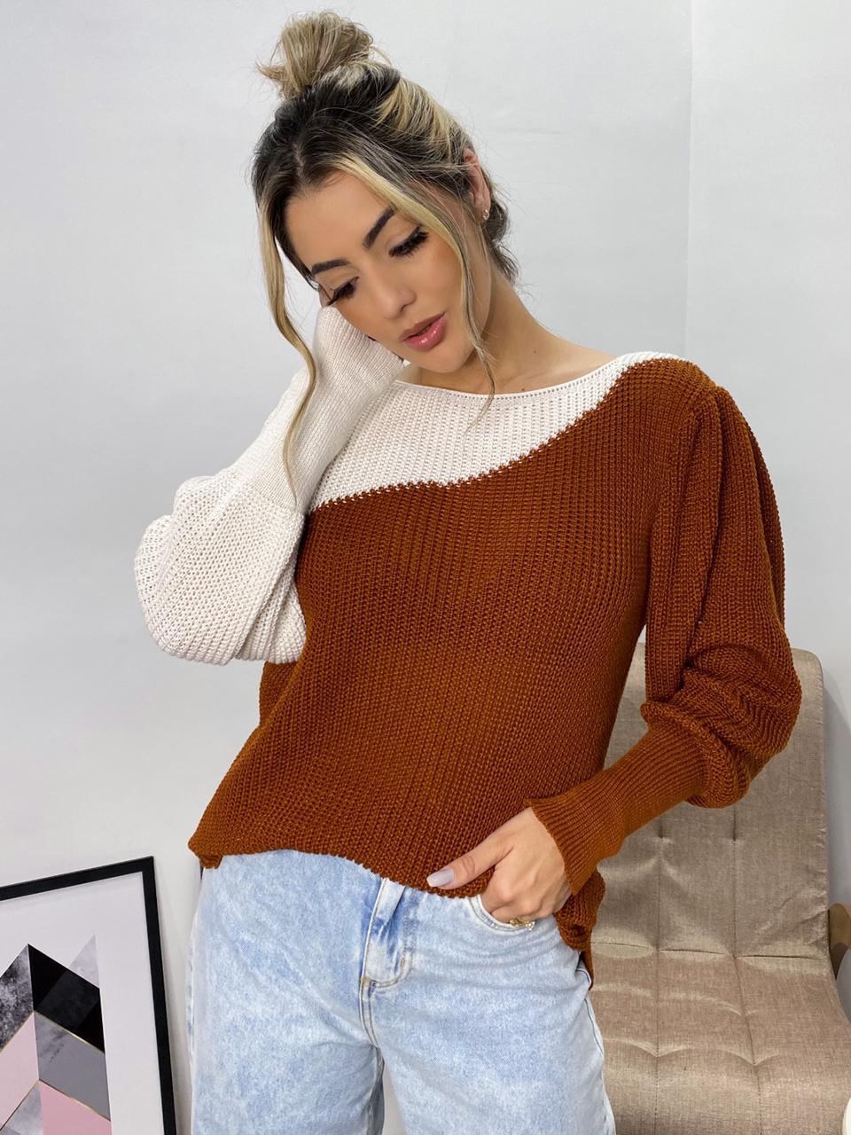 blusa tricot bicolor tendência atacado direto de jacutinga