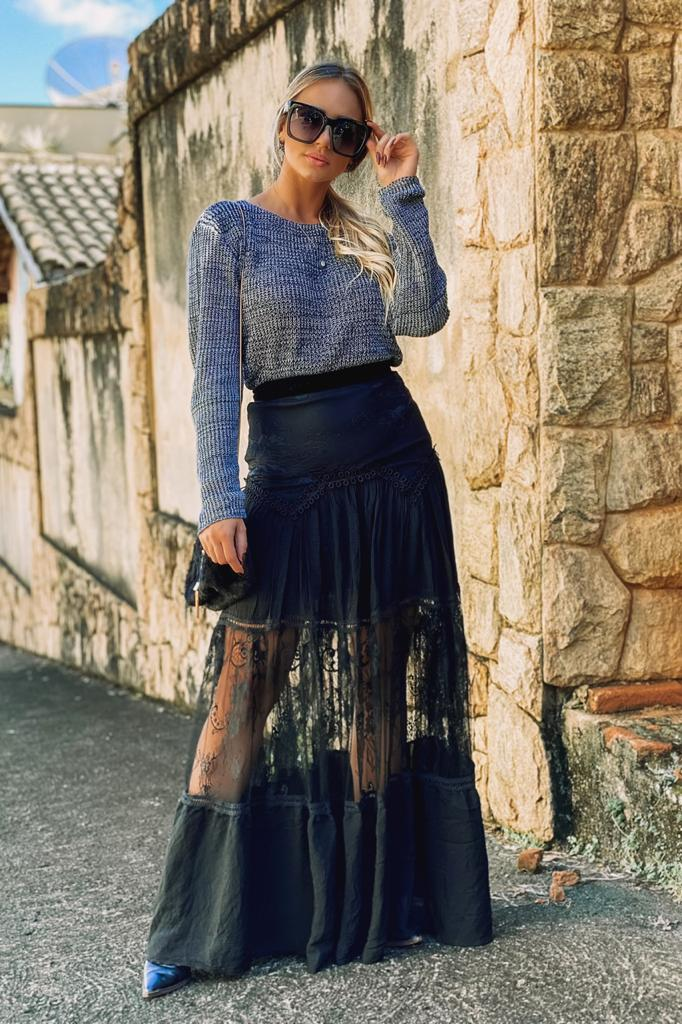 Blusa Tricot blogueira Inverno Malha Feminina Atacado