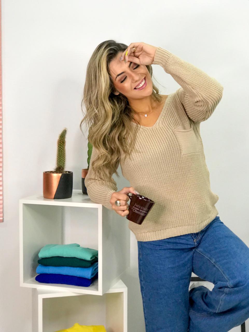 blusa tricot com bolso gola v atacado monte sião