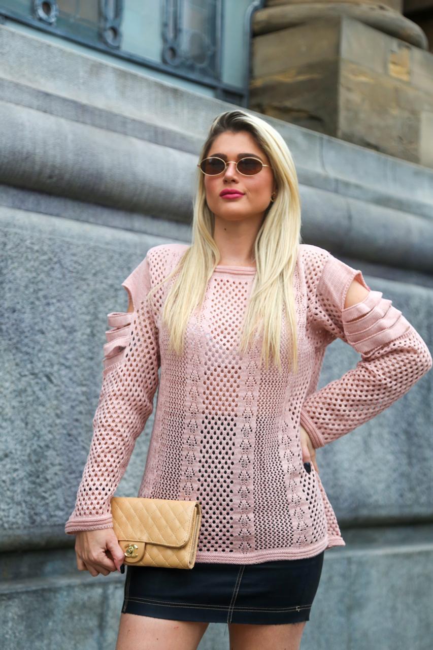blusa tricot com detalhes no ombro lançamento loja do tricô