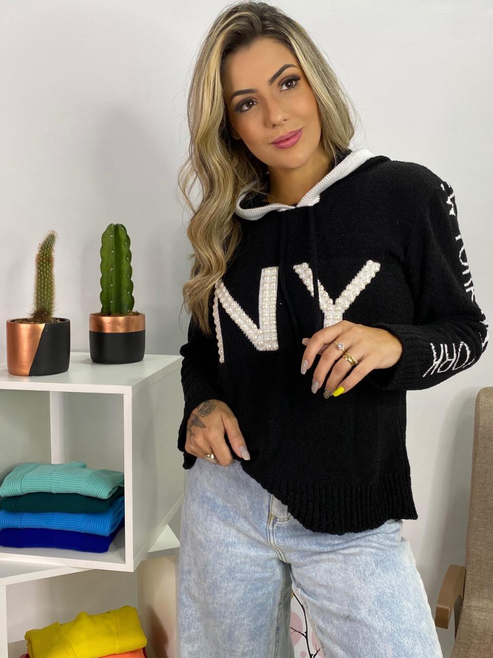 blusa tricot mousse capuz new york  atacado loja do tricô