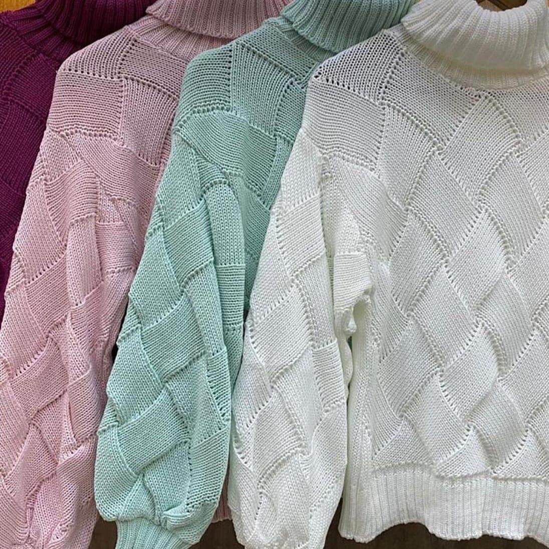 blusa tricot quadriculada moda blogueira loja do tricô
