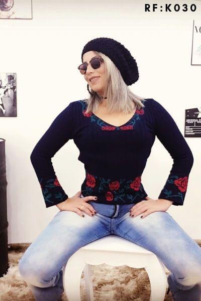 Blusas Atacado Tricot Tricô Feminina Inverno K89