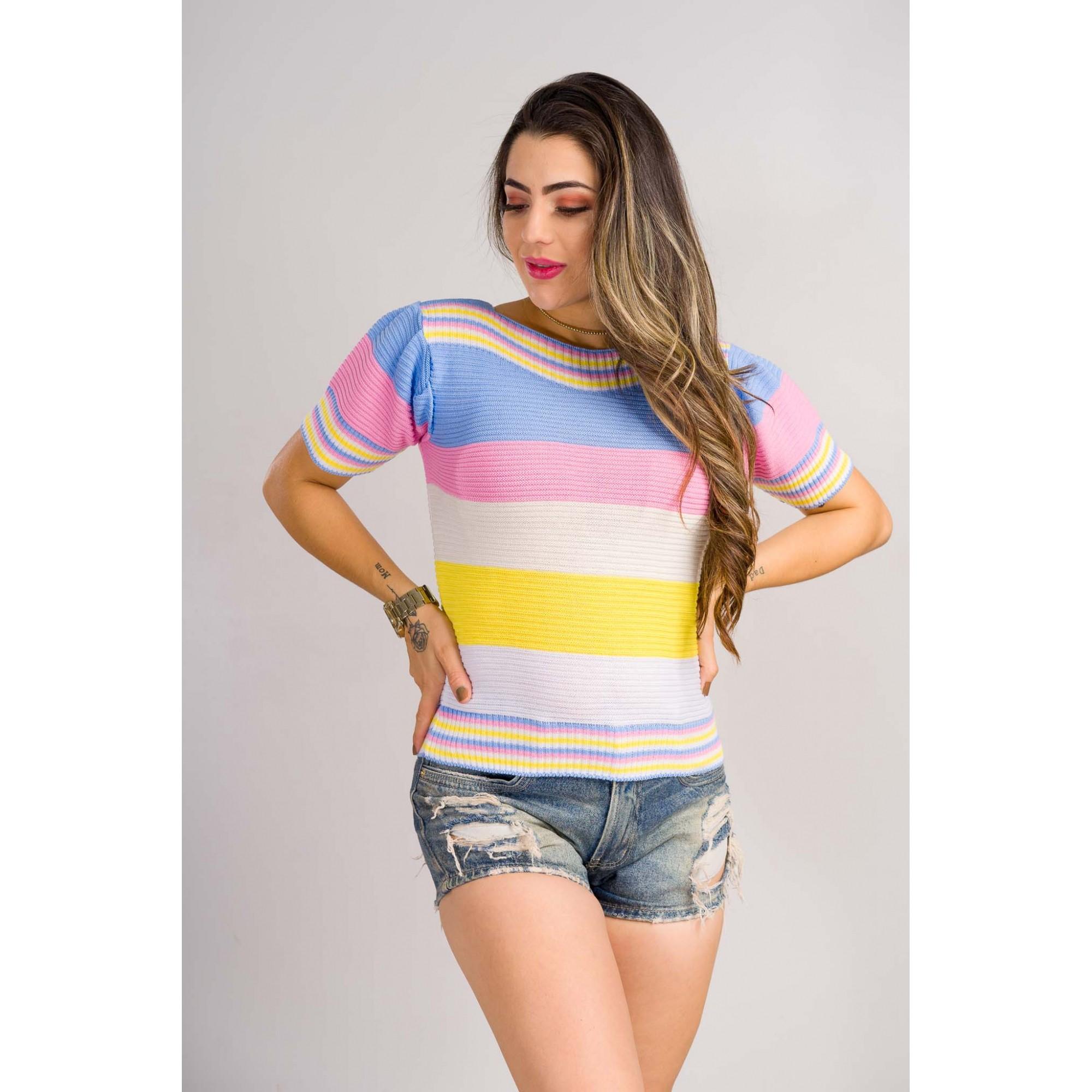 blusinha tricot de verão listrada arcoiris tendencia