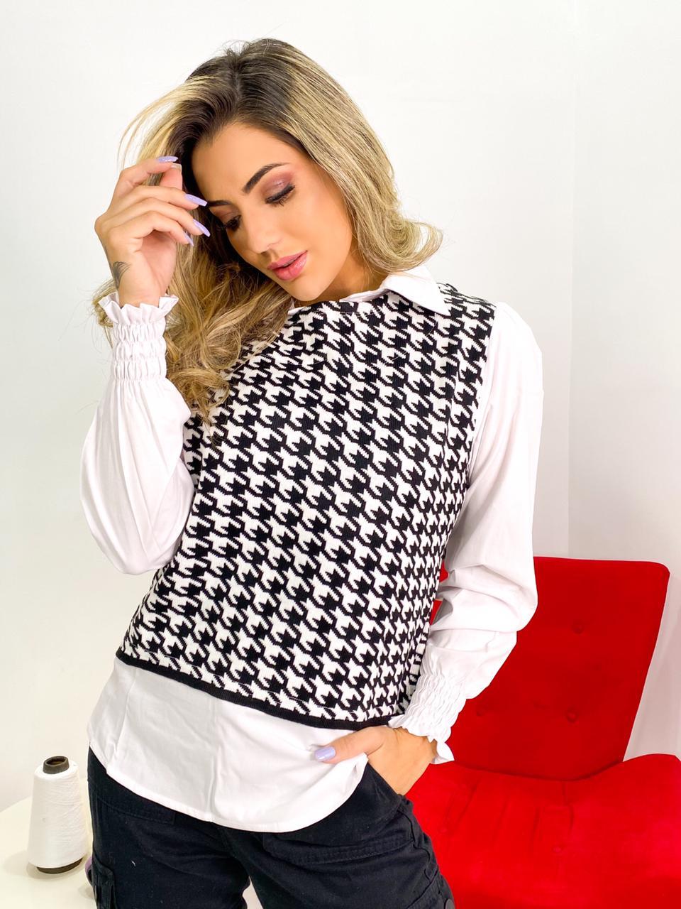 camisa de tecido tricoline com tricot  pied poule atacado