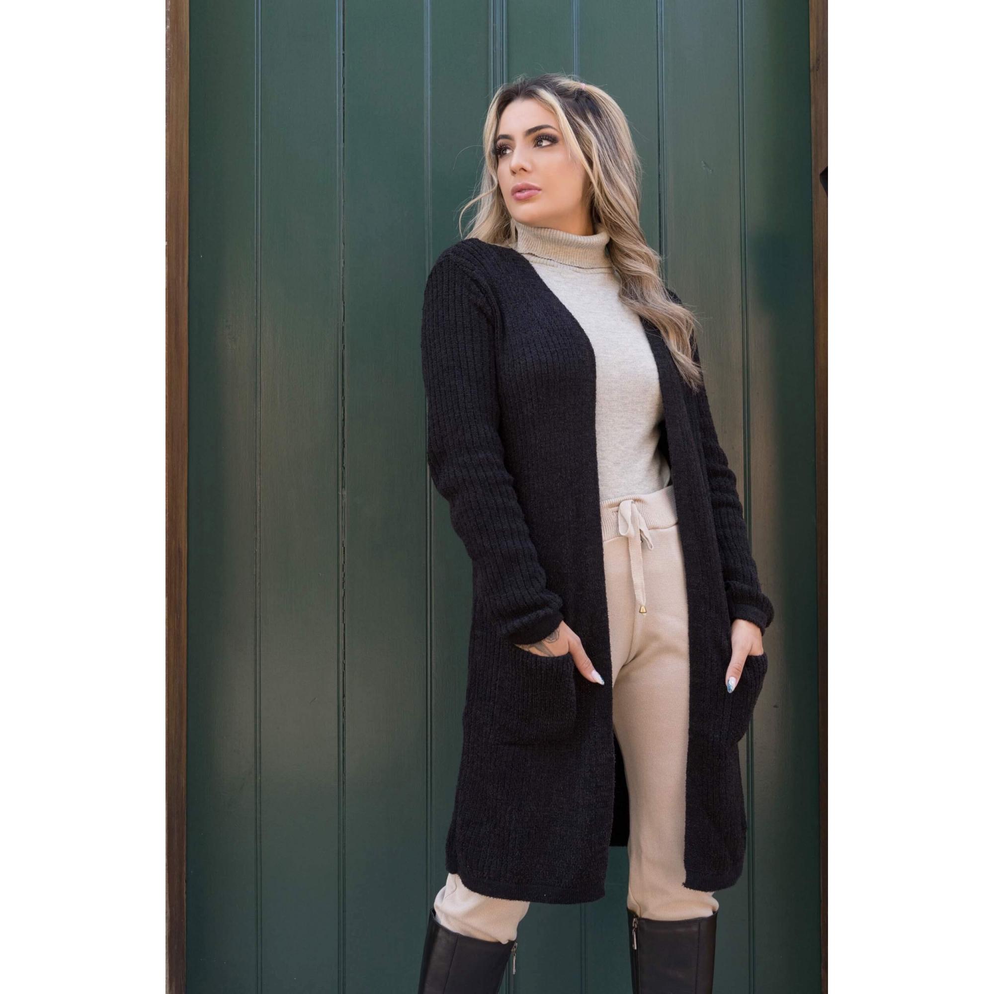casaco bolso mousse cardigan atacado jacutinga loja online