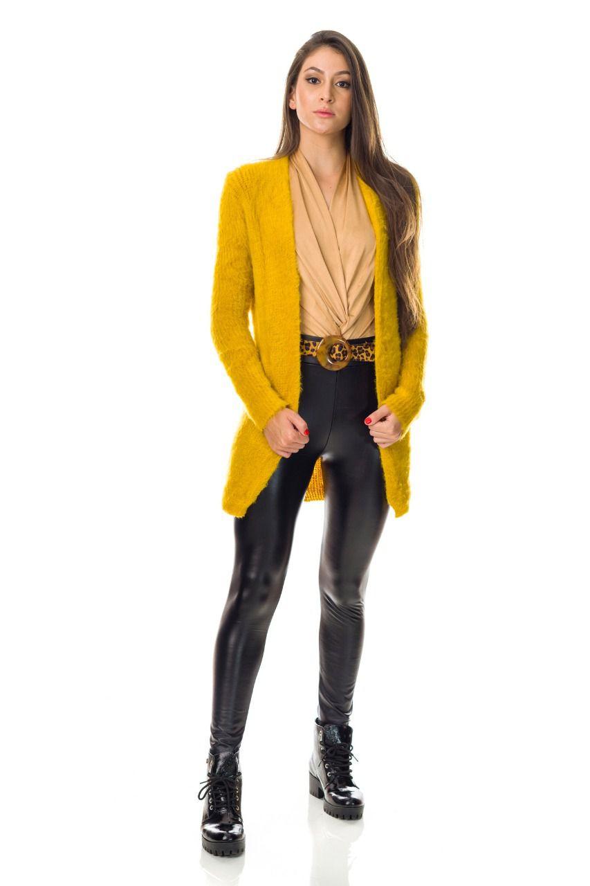 casaco de pelinho em  tricot moda blogueira atacado