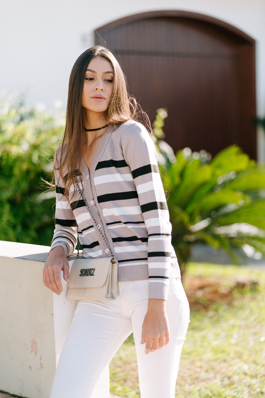Casaco de trico listrado elastano estilo modal
