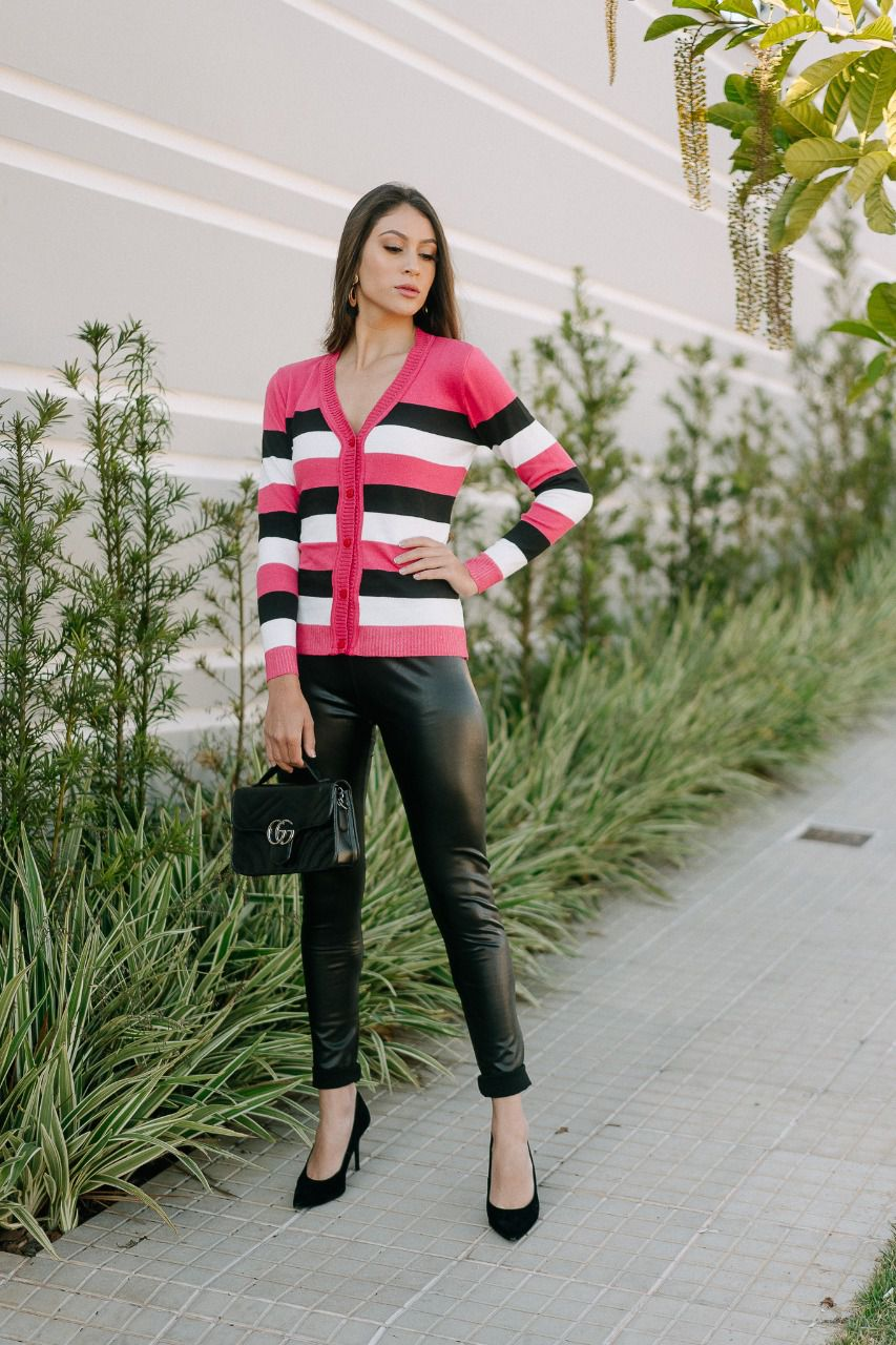 Casaco de trico listrado elastano estilo modal loja do trico