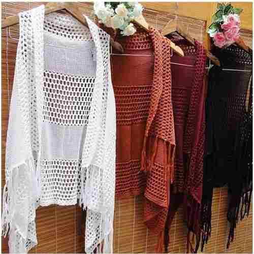 Colete Kimono Tricot Tricô  Franja verão