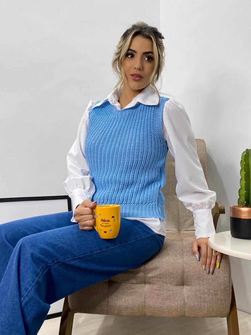 colete tricot liso pontão lançamento loja do trico