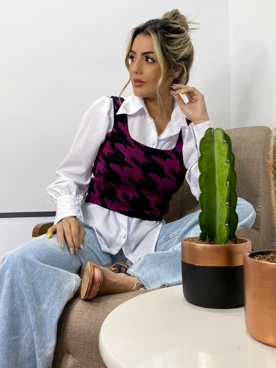 conjunto camisa e cropedd tendência monte sião loja do tricô