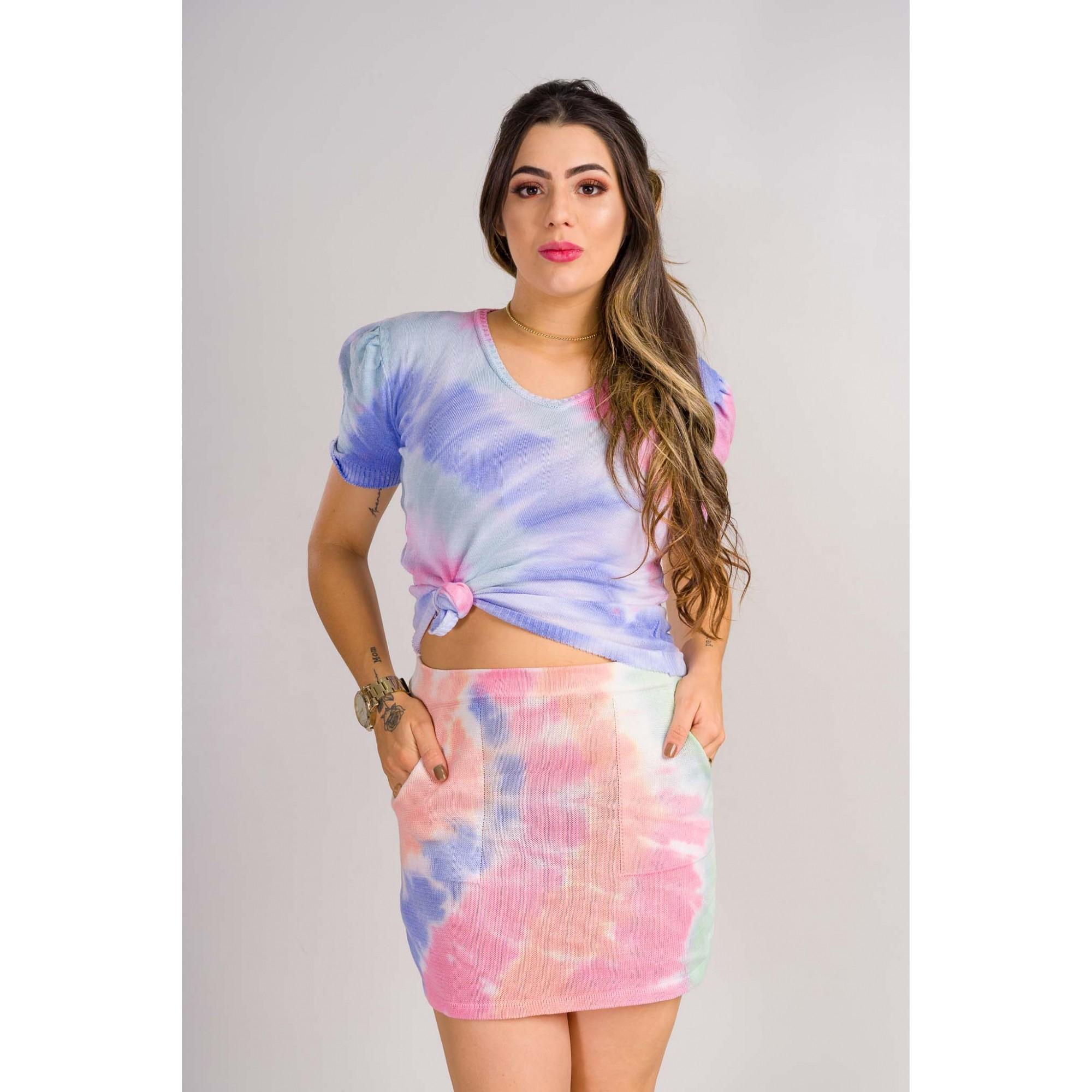 conjunto de saia tie day artesanal elastano tricot de verão