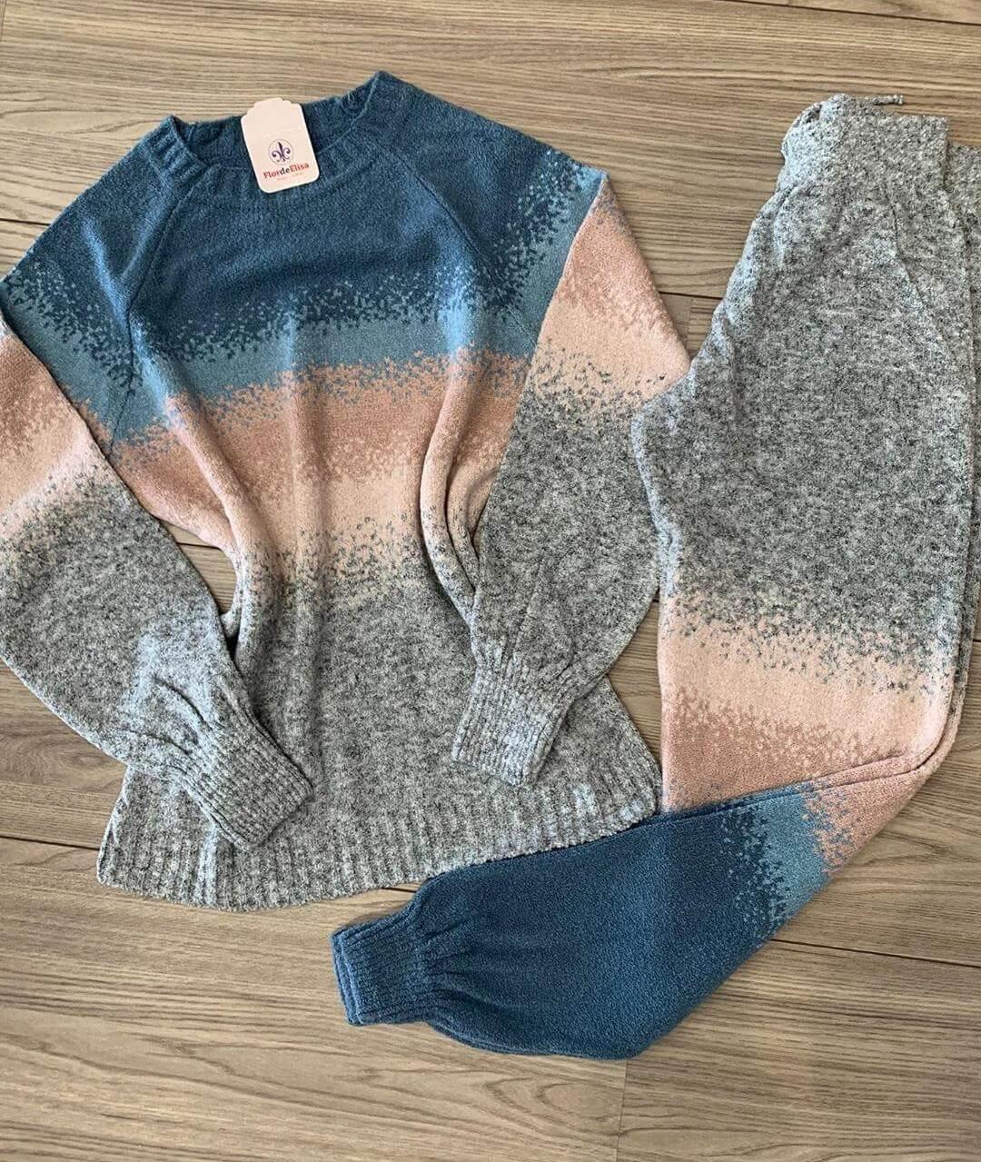conjunto de tricot mousse degrade lançamento loja do tricô