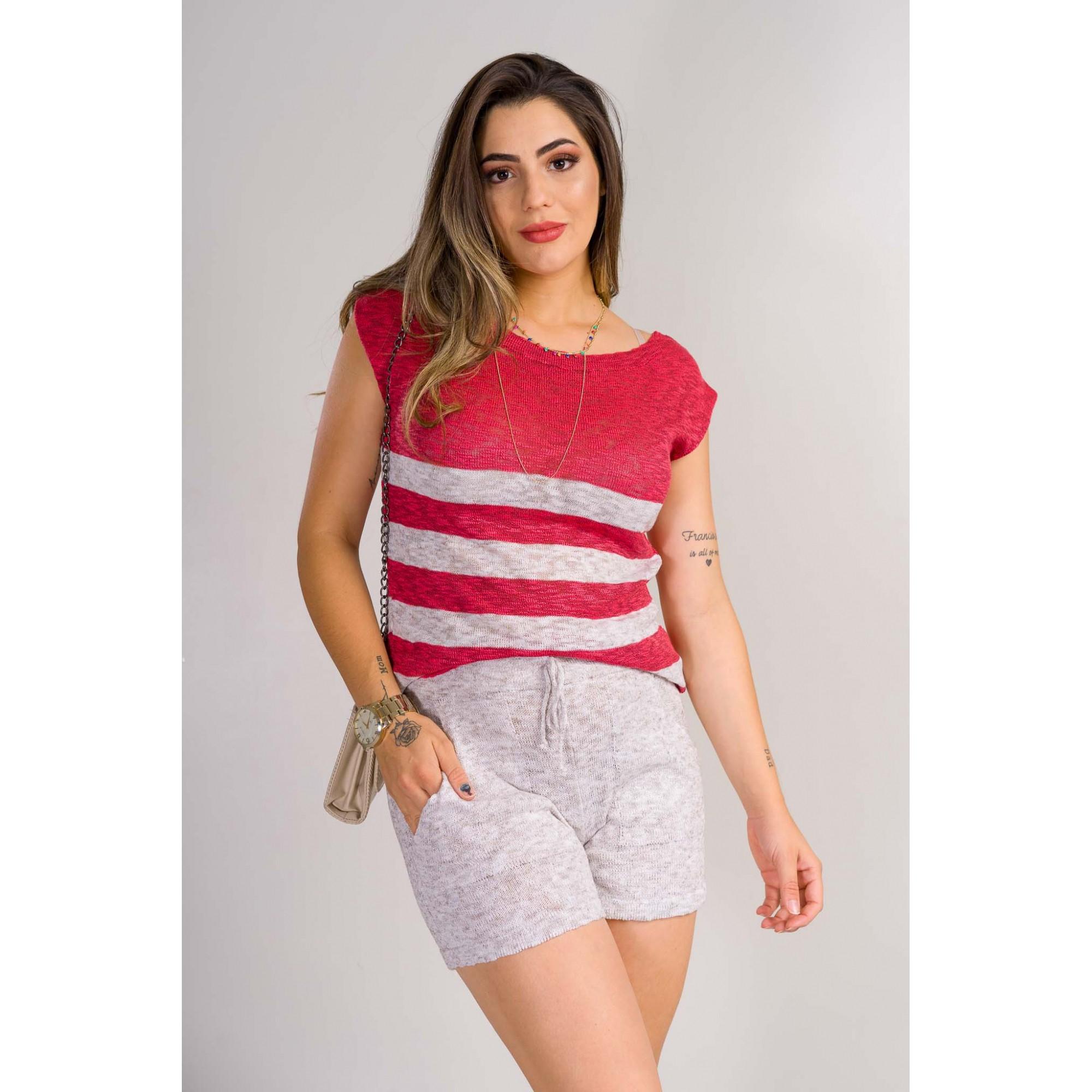 conjunto fio diferenciado flamê tricot de verão