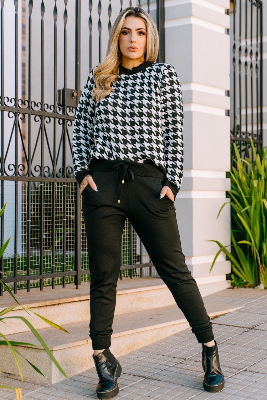 conjunto tricot calça e blusa de frio atacado loja do trico