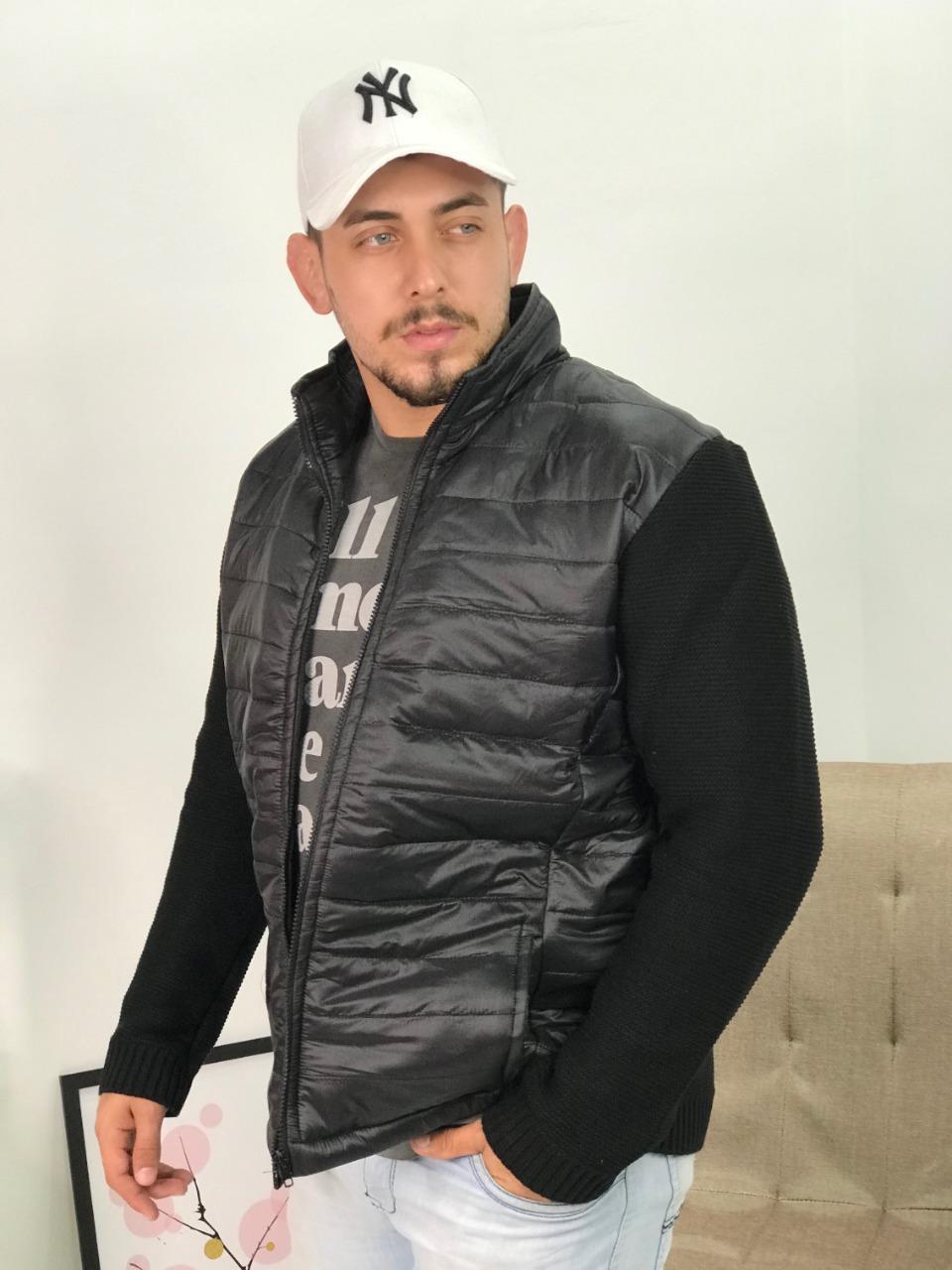 jaqueta masculina tricot detalhe na frente com matelassê