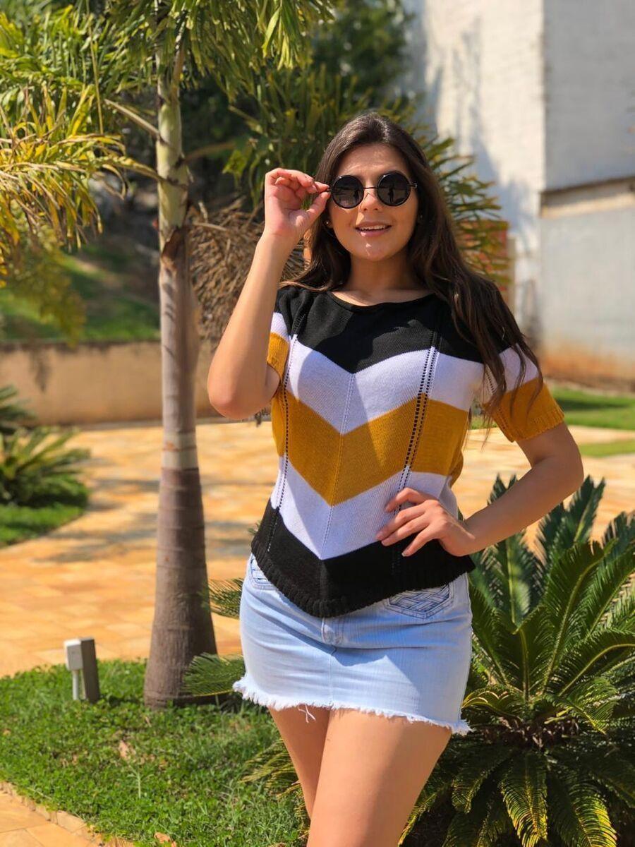 kit 3 blusinha feminina cropped blusinha tricot verão atacado k539