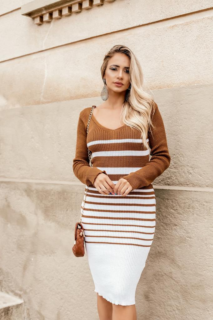 vestido de tricot inverno manga longa canelado estilo modal