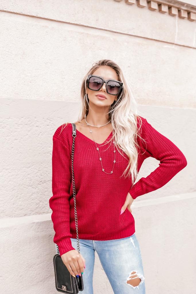 blusa casual de tricot gola v lançamento loja do tricô