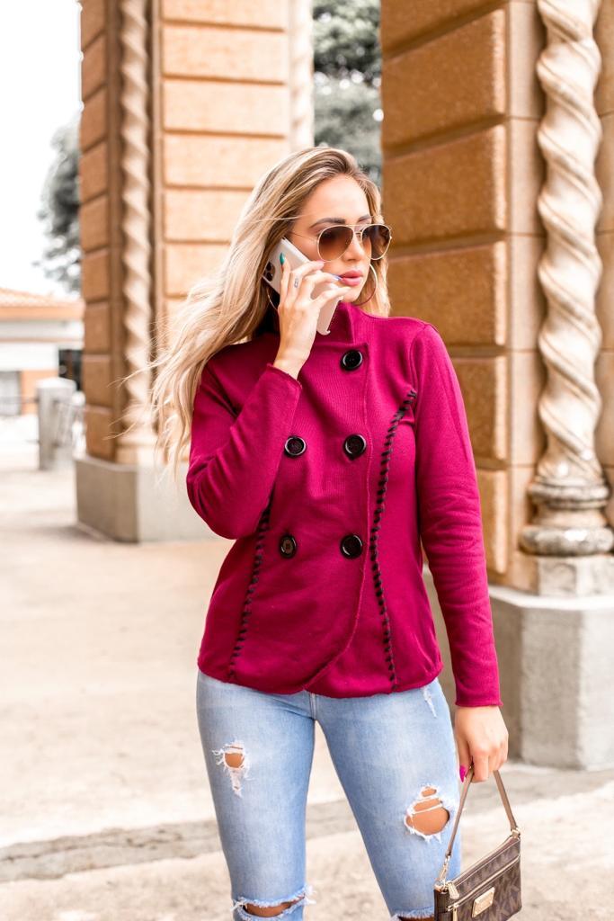 casaco prespontado alfaiataria com elastano estilo modal