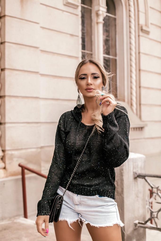 blusa de tricot com tons mescla capuz tendencia atacado