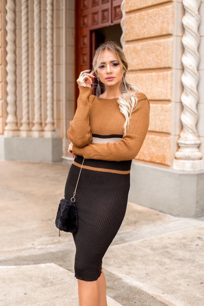vestido de tricot canelado estilo modal lançamento