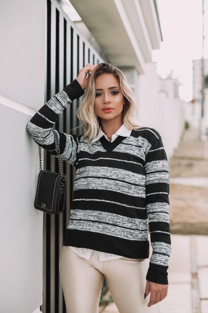 tricot gola v elastano estilo modal lançamento loja do tricô