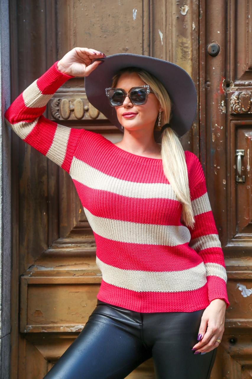 blusa de tricot listrada casual dia a dia loja do tricô