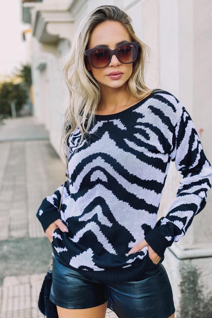 lançamento blusa tricot animal print loja do tricô atacado