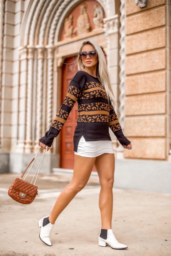 blusa de tricot com detalhe animal print loja do tricot