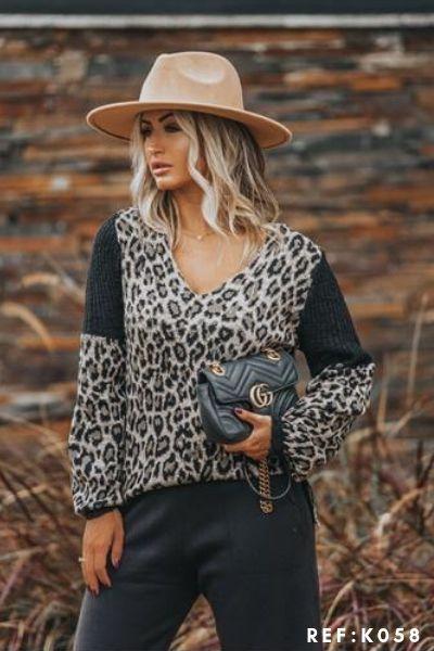 Onça animal print tricot de frio moda blogueira K101