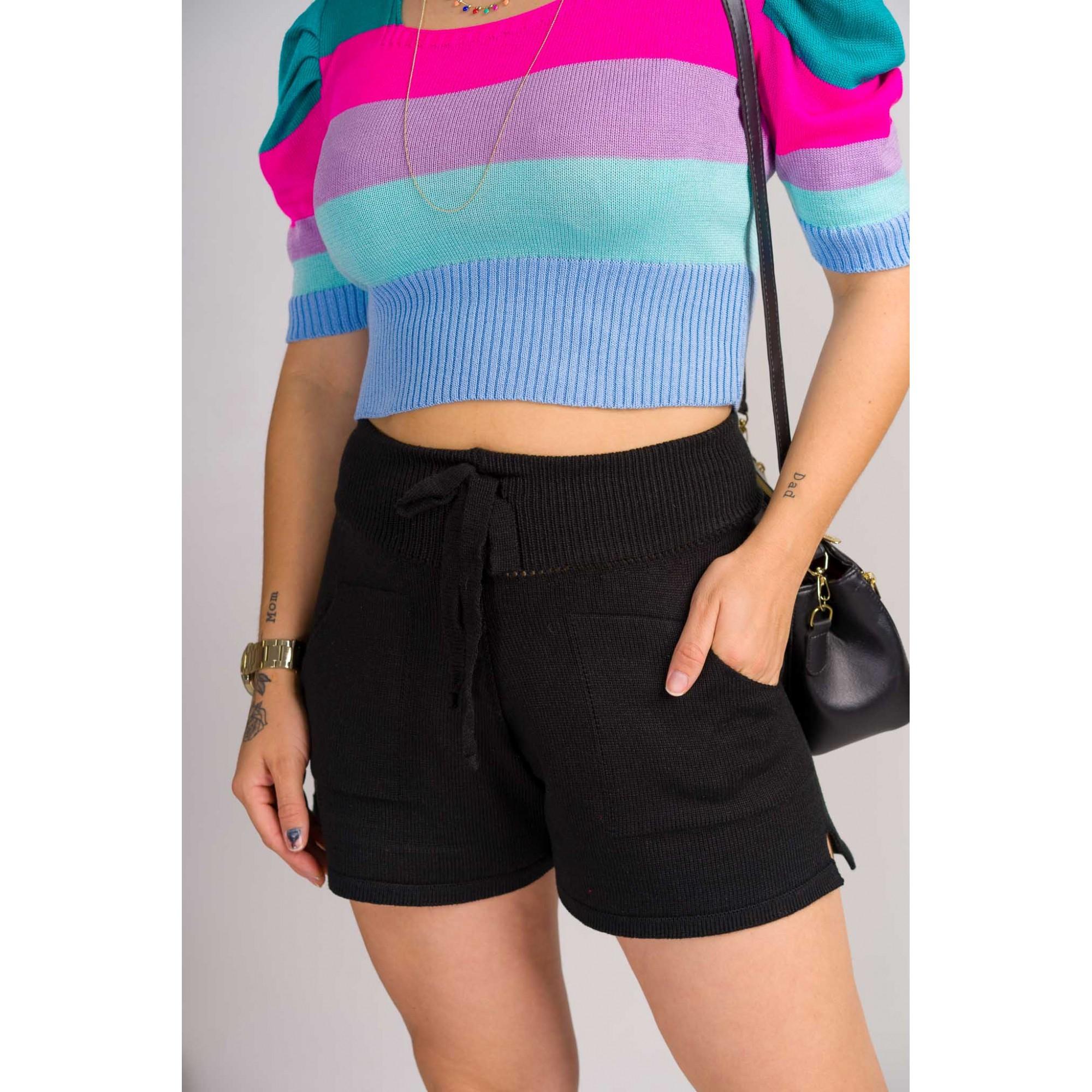 shorts liso cordão com bolso tricot de verão tendencia