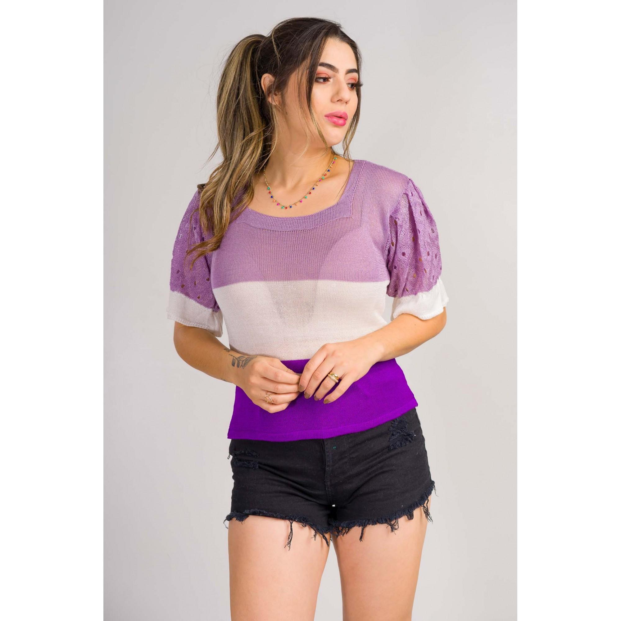 tricot de verão blusa 3 cores manga detalhada lançamento