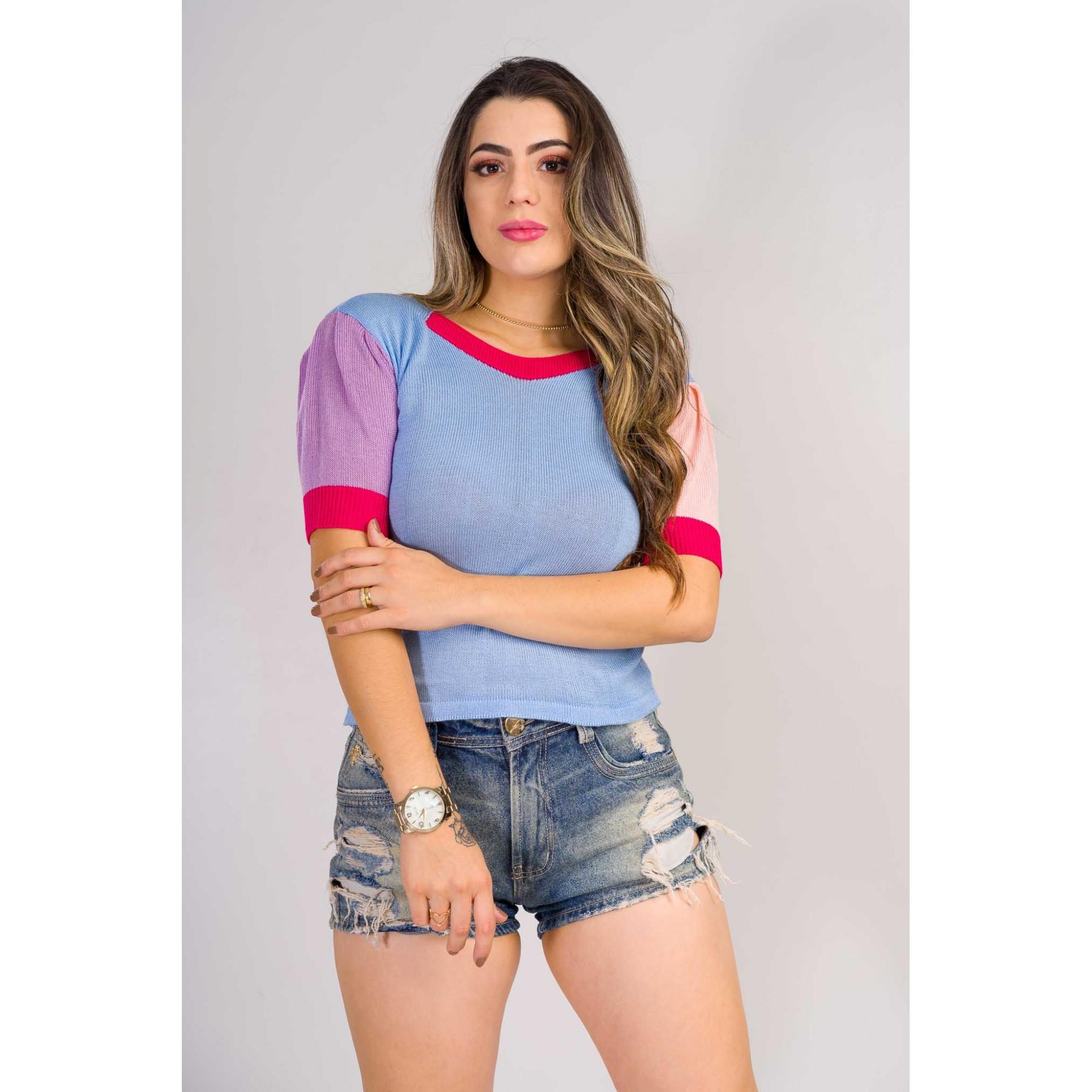tricot de verão blusa colorida moda instagran bloqueira