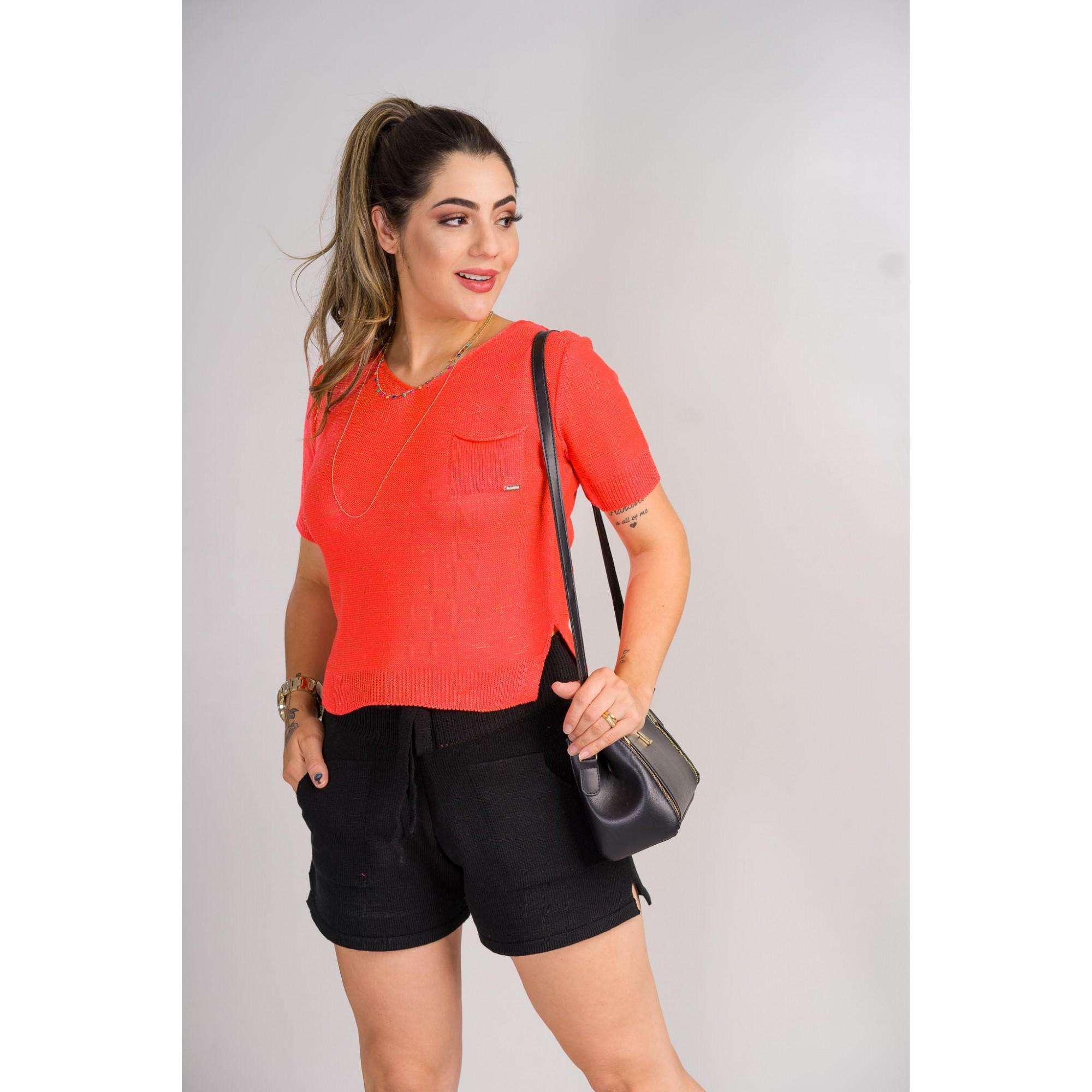 tricot de verão blusa com bolso laçamento loja do trico
