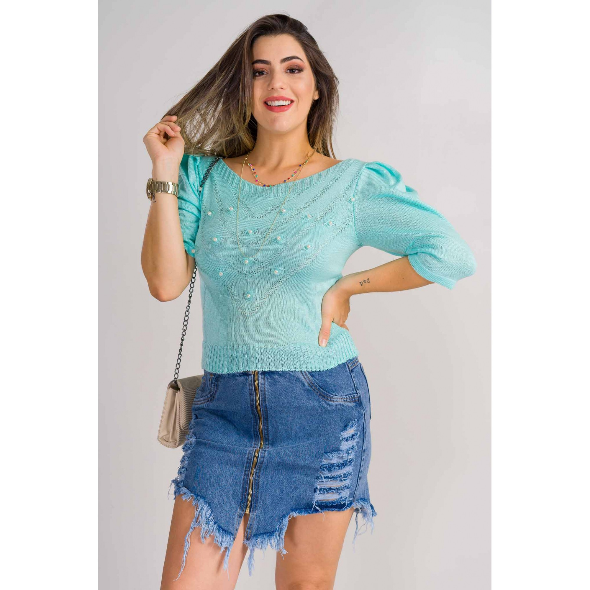tricot de verão blusa com perola manga puff loja do tricot