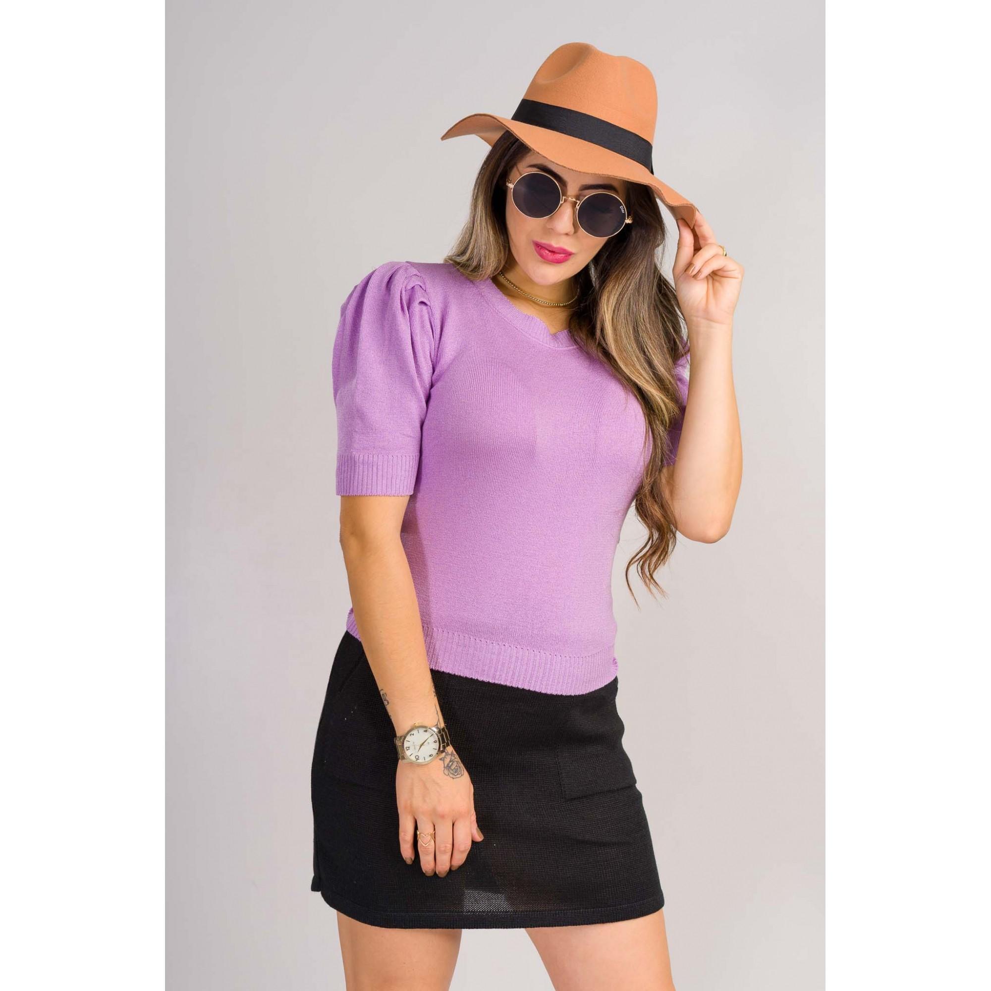 tricot de verão blusa estilo modal com elastano manga puff