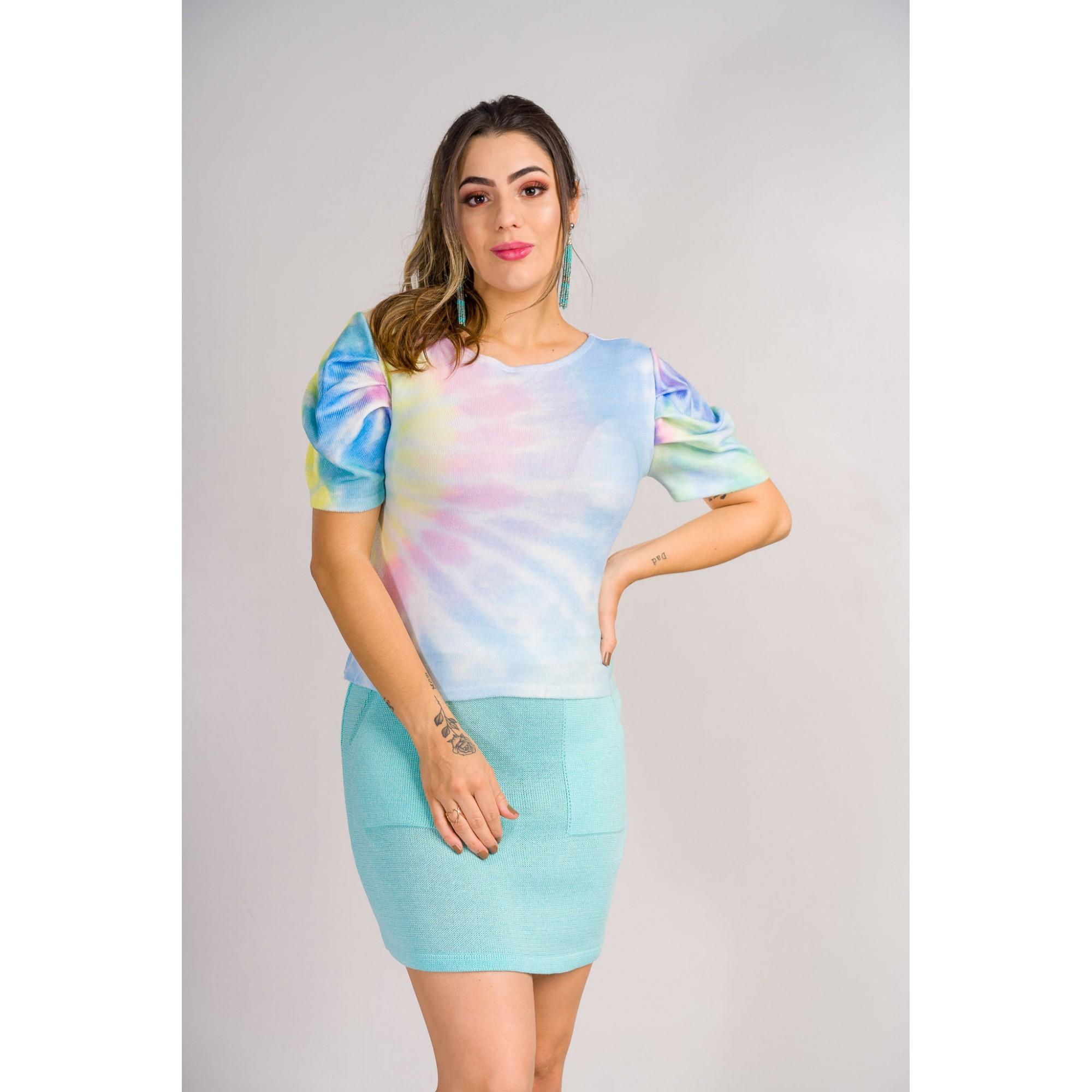 tricot de verão blusa estilo modal com eslastano tie day