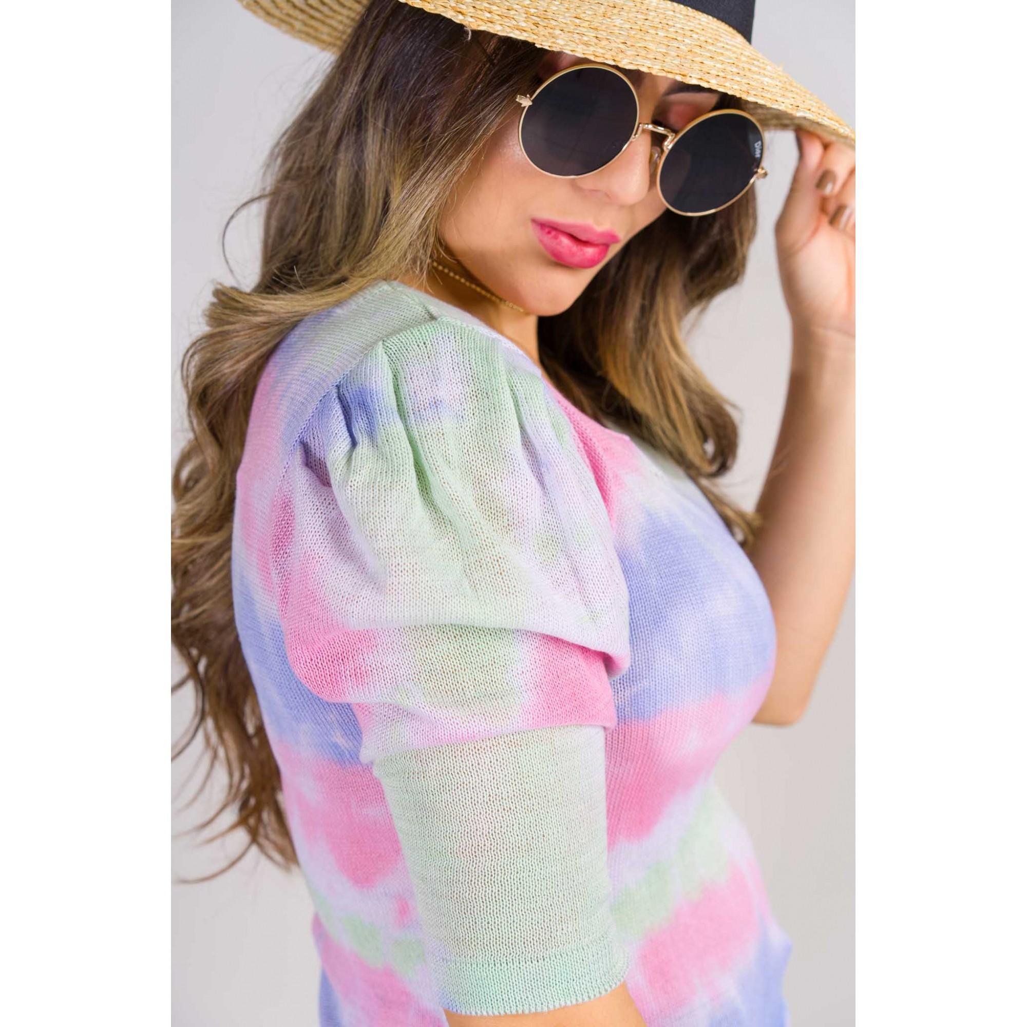 tricot de verão blusa gola quadrada tie day dentencia