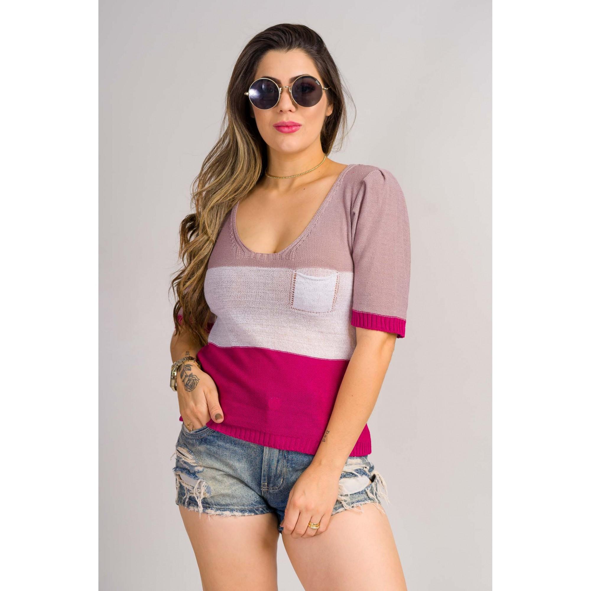 tricot de verão blusa manga curta 3 cores com bolso