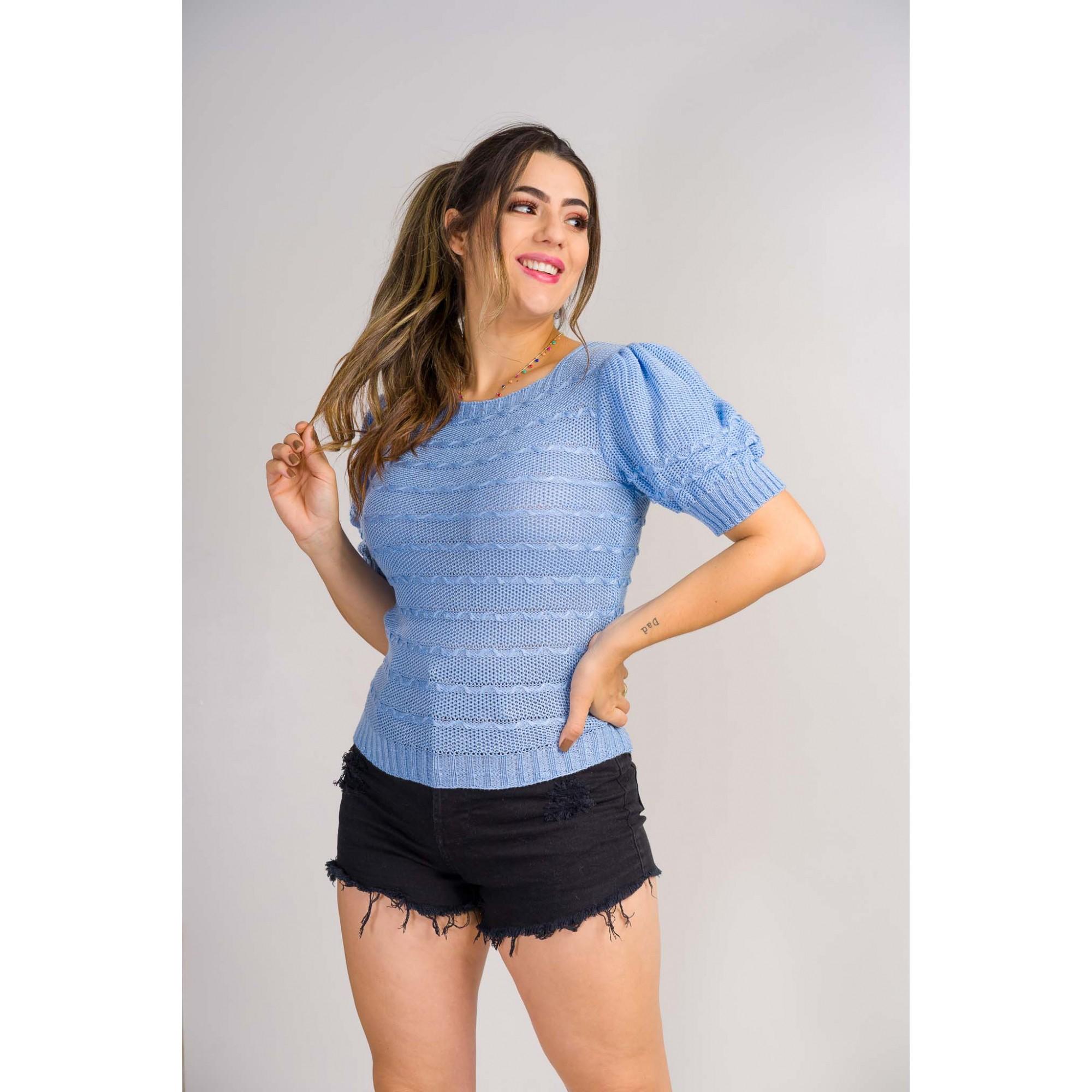 tricot de verão blusa trabalhada manga puff blogueira