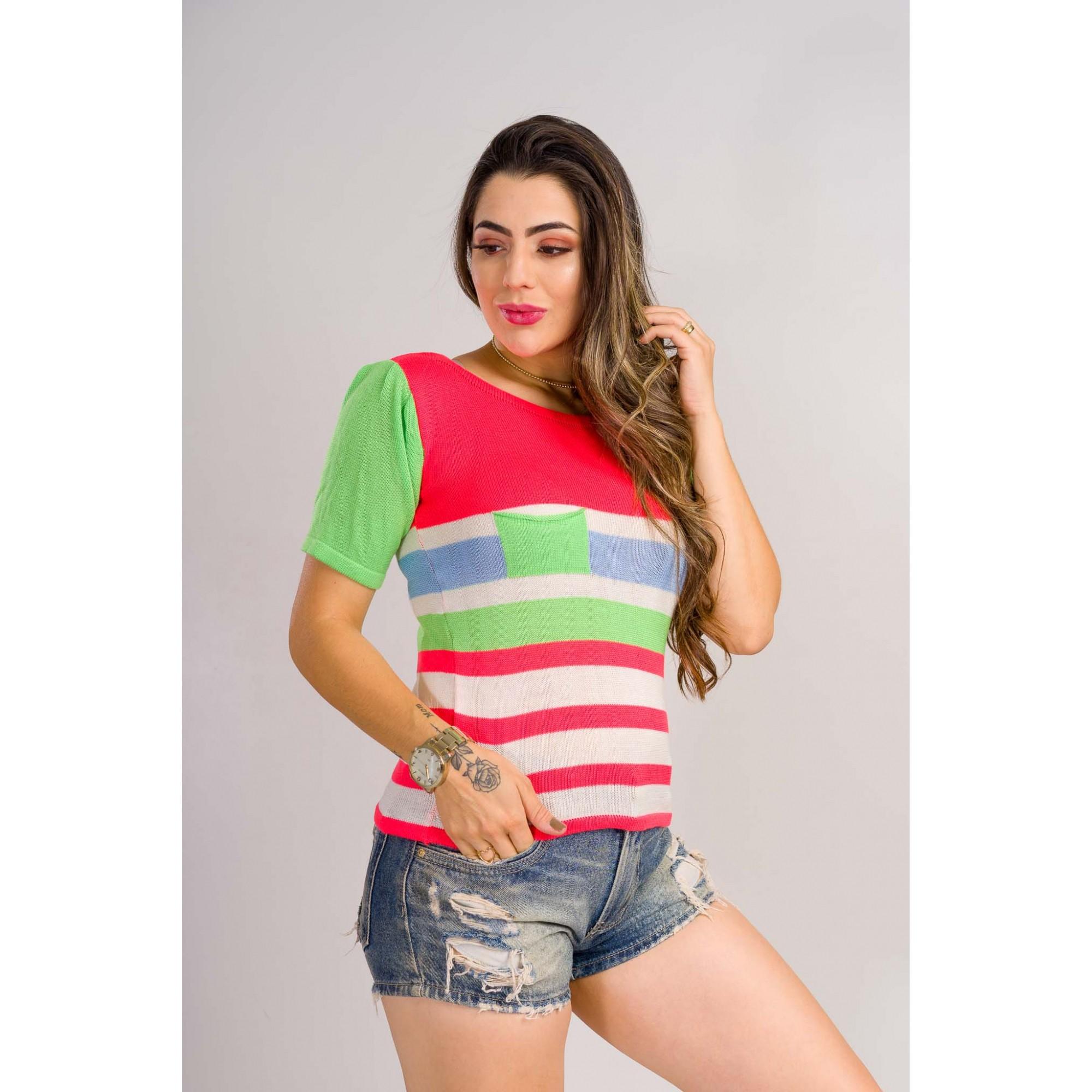 tricot de verão blusinha colorida com balso tendencia