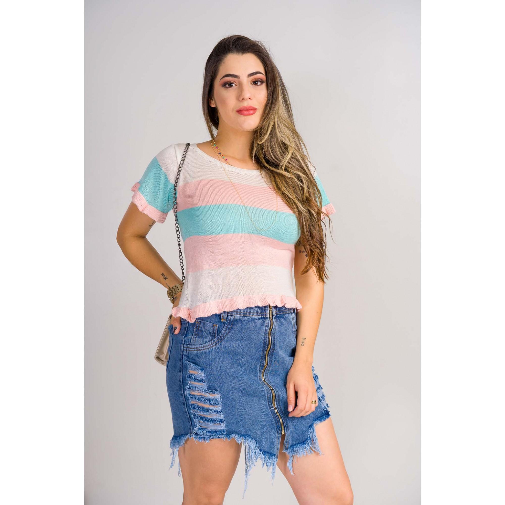 tricot de verão blusinha listrada com babado no punho