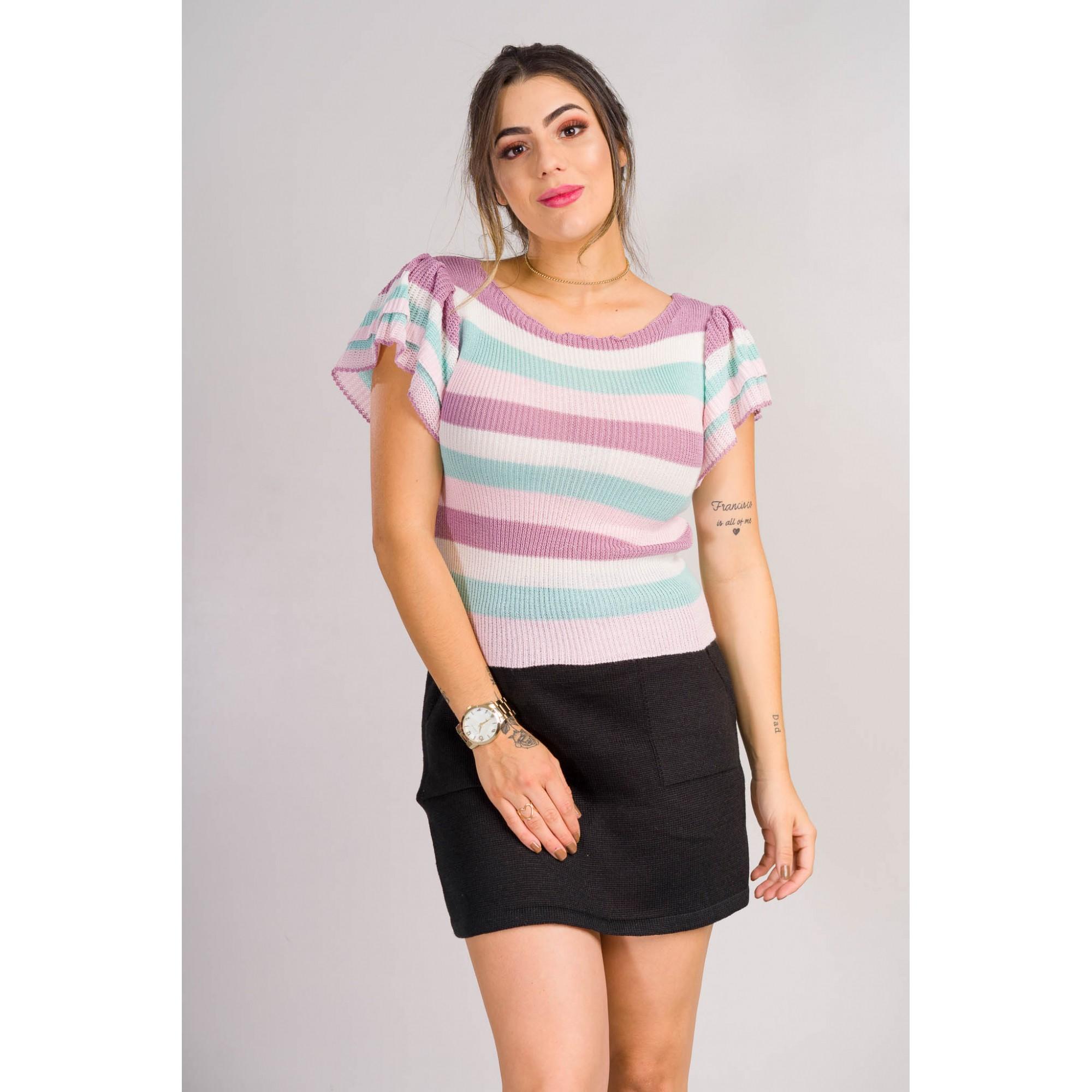 tricot de verão cropped listrado com babado na manga