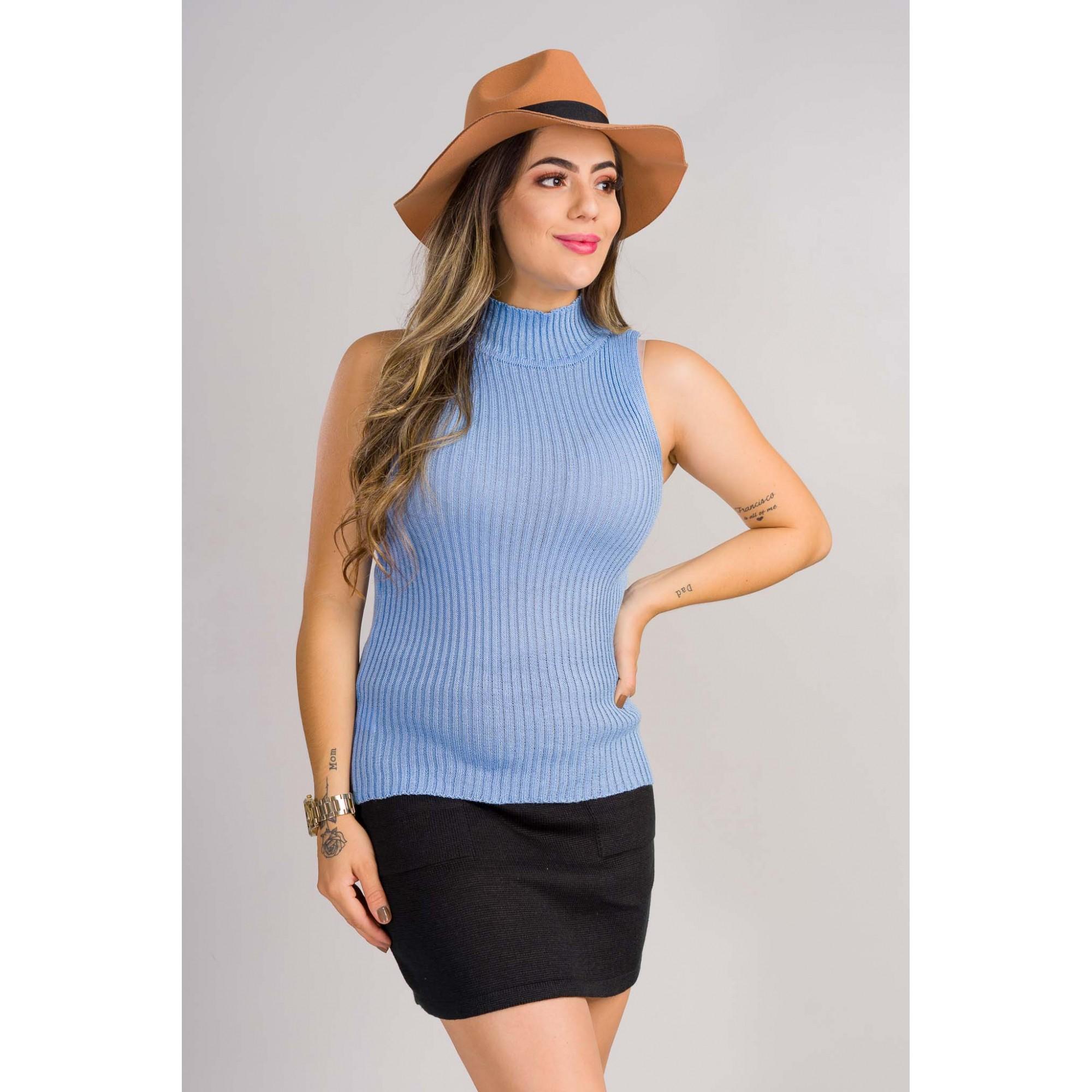 tricot de verão garrafinha gola rolê canelada loja do tricô